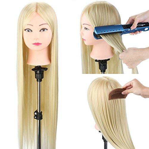 Frisierkopf Neverland Übungskopf 30 Zoll Trainingsköpfe für Friseure Frisurenkopf Schaufenster Puppenkopf 100% Kunstfaser Haar Mannequin Kopf Friseursalon mit Klemme