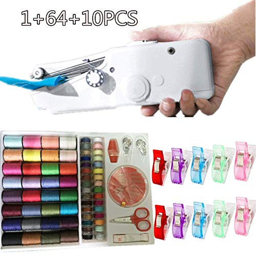 Nifogo Handnähmaschine - Mini Handheld Nähmaschine, Tragbare Handnähmaschine, Stromversorgung über AA-Batterie, für DIY Haushalt und Reisenutzung (75PCS)