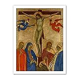 Giovanni Da Milano Crucifixion Religious Painting Artwork Framed Wall Art Print 18X24 Inch Pintura Pared