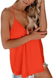 MK988 Women Deep V-Neck Spaghetti Strap Cami Tank Tops Blouse Shirt