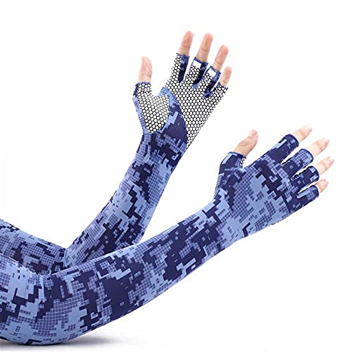 LYRRHT Funda protectora solar para hombres, con tapa para los dedos, opaca, para exteriores, para camuflaje, antideslizante, largos, color azul, 2 unidades, talla única, camuflaje azul., Talla única