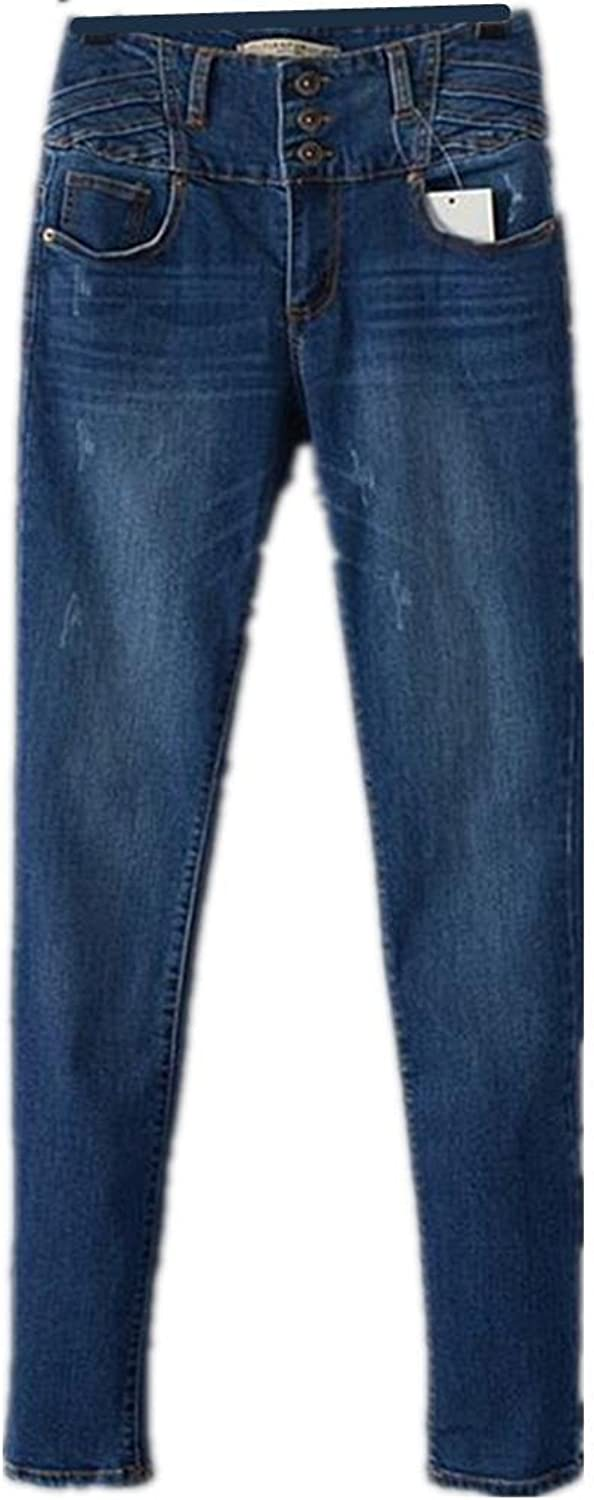 Byjia Women'S Slim Jeans Long Button Casual bluee Denim Pants Pocket Classic Premium Relaxed Fit StraightLeg Power Curvy MidRise Inseam