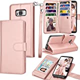 Tekcoo for Galaxy S8 Case/Galaxy S8 Wallet Case, Luxury ID Cash Credit Card Slots Holder Purse Carrying PU Leather Folio Flip Cover [Detachable Magnetic Case] & Kickstand for Samsung S8 - Rose Gold