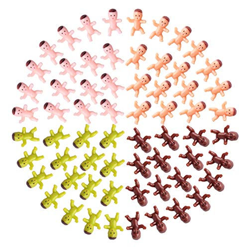 Lamoutor 200 Pieces Mini Plastic Babies Mixed Race For Baby Shower Party Favor Supplies Ice Cube Game Party Decorations 1 Inch (Dark Brown, Latin, Pink, Green)