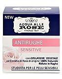 Acqua alle Rose, Crema Viso Antirughe Sensitive con Collagene Vegetale, Crema Antirughe, D...