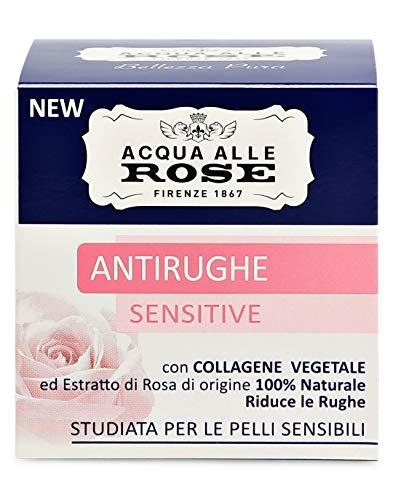 Acqua alle Rose Crema Viso Antirughe Sensitive con Collagene Vegetale ed Estratto di Rosa, Crema Antirughe, Delicata sulla Pelle, Ottima per Pelli Sensibili, 100% Naturale, 50ml