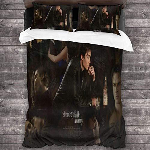 "LZMM Blätter The Vampire Diari-ES Bedding Duvet Cover 3 Piece Set – Ultra Soft Microfiber,Comforter Cover and 2 Pillow Shams, 86""x70,One Size"