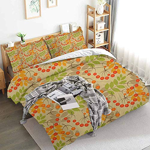 Aishare Store Rowan - Juego de funda de edredón (3 piezas, 2 fundas de almohada), diseño gráfico de frutas rurales, color cálido