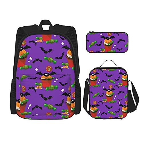 Terug naar school benodigdheden Halloween vleermuizen pompoen paarse studenten 3 in 1 schoolrugzak set lichtgewicht…