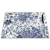 Tcerlcir Set di 6 Tovagliette Floreale Blu e Bianco Lavabile Antiscivolo Resistente al Calore per la Cucina e la tavola 45x30cm