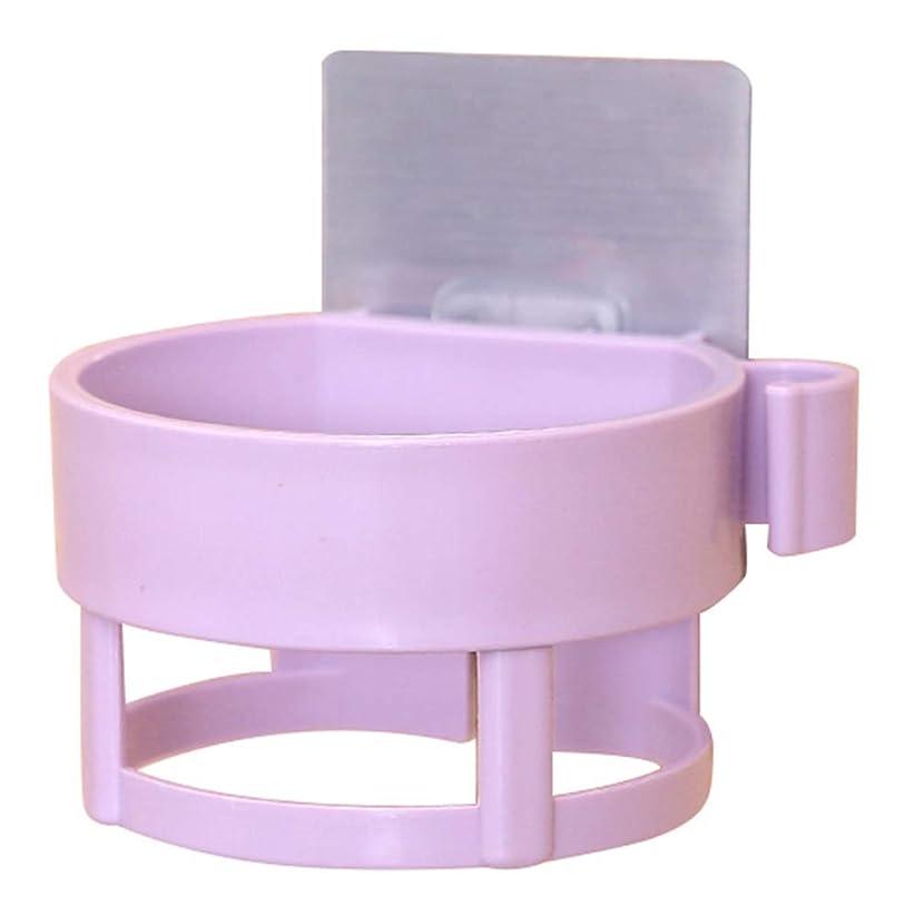 塊グリース新年パンチフリーヘアドライヤーシェルフホルダーバスルーム収納棚水切りバスタオルホルダーPP素材サクションカップ,紫色