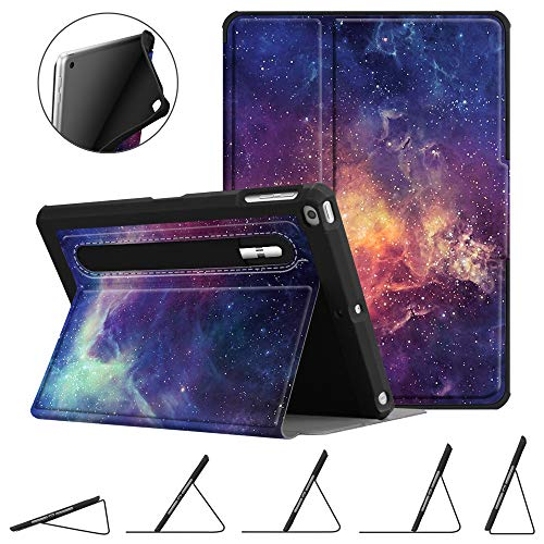 Fintie Case for iPad 9.7 2018 2017 / iPad Air 2 / iPad Air - [Corner Protection] Multi-Angle Viewing Rugged Soft TPU Back Cover with [Secure Pencil Holder] Auto Sleep/Wake, Galaxy