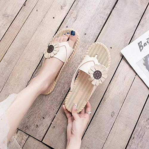 Perfect 10 open teen sandalen,Daisy-teenslippers voor dames, dragen antislip-sloffen-Khaki_40 / 41