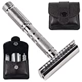 Parker Safety Razor, 4 Piece Travel Safety Razor & Leather Case - A great Travel Safety Razor that is also excellent for Everyday Use!