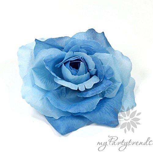 myPartytrends Ansteckrose, Haarrose in blau; Modell 'Französische Rose' (Ø 11 cm; Höhe 5 cm) (Ansteckrose, Haarblume mit Schnabelspange, Haarschmuck, Seidenrose, Seidenblume)