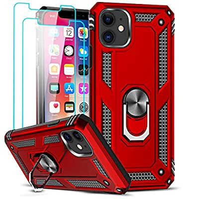 LeYi Compatible for iPhone 11 Case with [2 Pack] Tempered Glass Screen Protector, Military Grade Armor Phone Cover Case with Ring Magnetic Car Mount Kickstand for iPhone 11 6.1 inch, Red