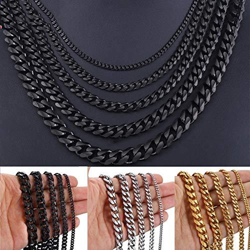 Bwer Collar de Cadenas de Acero Inoxidable para Hombres, Color Negro, Dorado, Plateado, para Hombre, joyería Cubana, Regalos, 50 cm, Color Plateado, 5 mm de Ancho