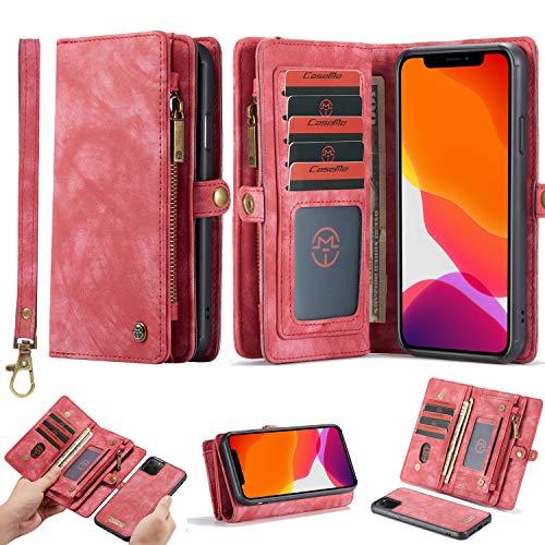 HATA iPhone 11 Leder Schutzhülle Geldbörse mit Abnehmbare Magnetverschluss Han...