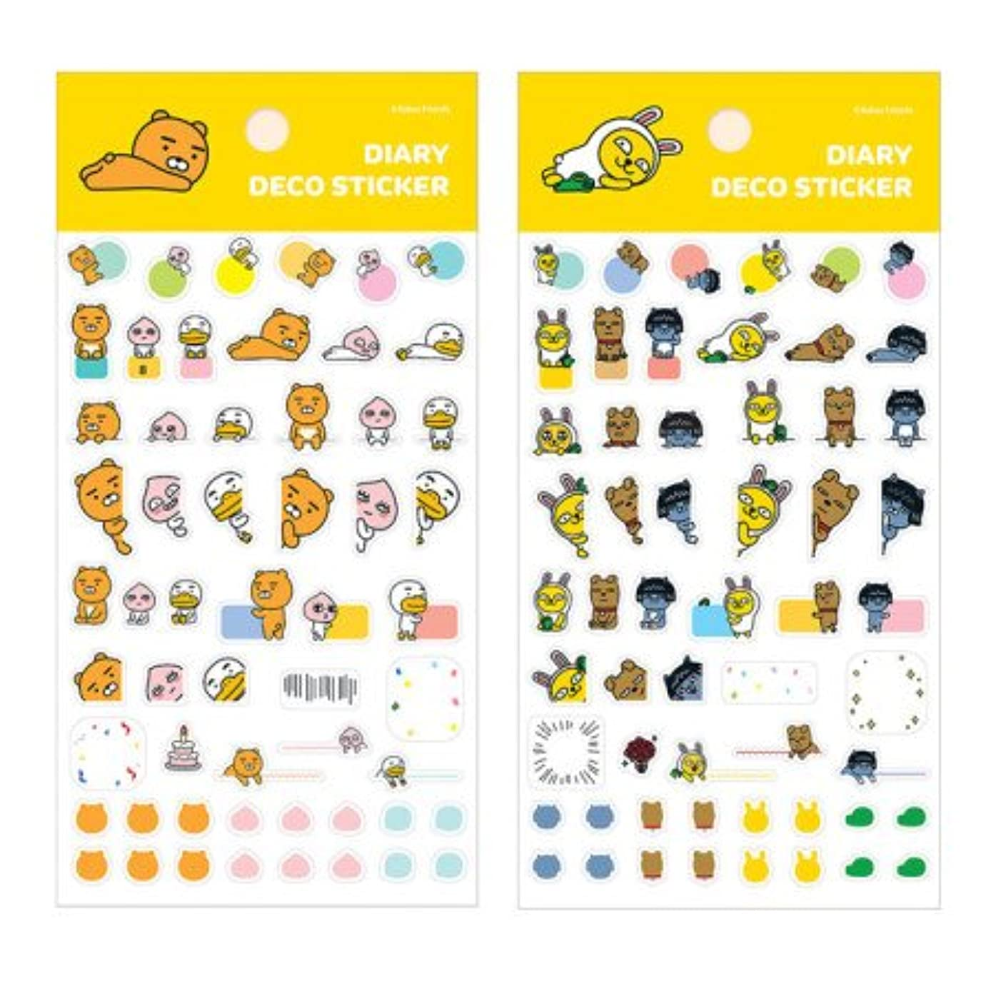 Kakao Friends Diary, Journal, Organizer, Planner Deco Stickers Decorate with Cute Kakao talk Character - Set of 2