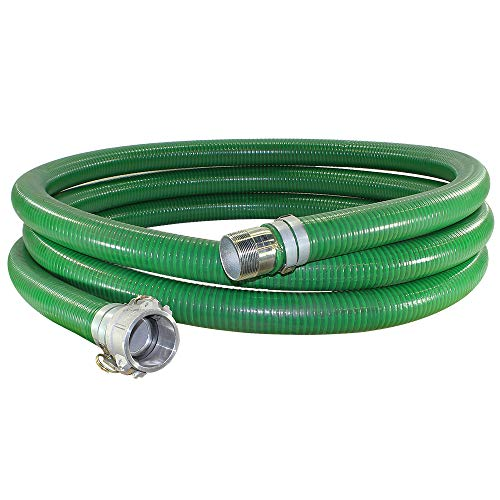 Suction Pump Water Hose with Pump Threads/Camlock - Green Trash Pump Hose - 2' x 20'