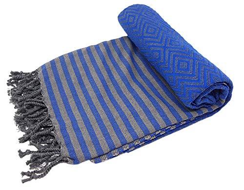 Bella Casa KELIM LUX Hamamtuch Saunatuch Pestemal Fouta Strandtuch Badetuch Handtuch Baumwolle Backpacker 100x180 cm (Royalblau)