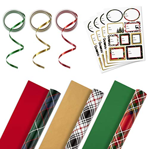 Hallmark Reversible Christmas Wrapping Paper Set with Ribbon and Gift Tag Stickers (Green, Red, Black Plaid; 3 Rolls, 120 sq. ft. ttl; 30 Yds. Ribbon, 36 Seals)