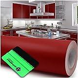 Lámina para plóter + rasqueta brillante o mate, 10 m x 63 cm, para muebles, cocina, baño, decoración (030 rojo oscuro, mate)