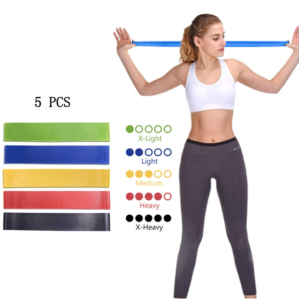 5 X Resistance Bands Loop Exercise Rubber Gym Yoga Elastic Band Fitness Training