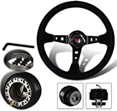 350mm 6 Hole Black Suede Leather Blue Stitches Deep Dish Steering Wheel + Nissan Hub Adapter