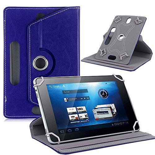 Funda universal para tablet de 10 pulgadas, con soporte universal para Tab de 10 pulgadas, rotación de 360 grados, varios ángulos de visión, efecto piel, azul oscuro y azul marino