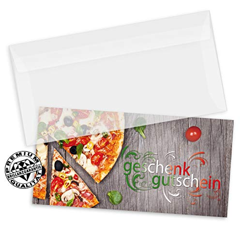 100 Stk. Hochwertige Gutscheinkarten DIN-lang + 100 Stk. Kuverts. Gutscheine für Italienische Restaurants. Vorderseite hochglänzend. G92000