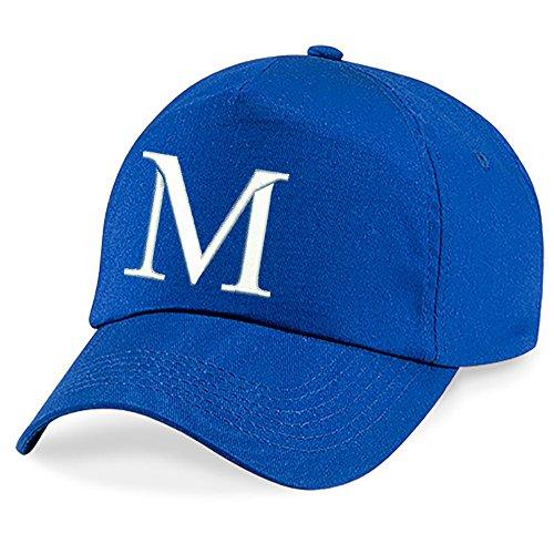 4sold Niños Escuela Bordado Gorra Niños Hat Alphabet A - Z Verde Azul Claro Royal Blue Navy Real Azul Marino (M)