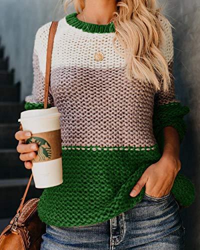 LYEXO Herfst Winter Pluizige Mohair Vrouwen Sweater Lange Mouw Patchwork Gebreide Truien Truien Kleurrijke Gestreepte Oversized Sweater@Green_M