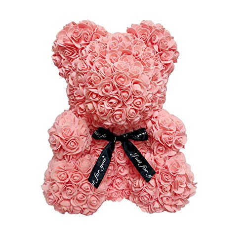 I3CKIZCE Rose Teddy Bear Forever Flowers Bear Valentinstag Hochzeitstag Muttertag Geburtstag Romantisches Puppengeschenk 15 Zoll groß mit 2 Größen und 8 Farben (Hellrot, 25cm)