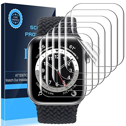 [6 Pack]LK Protector de Pantalla Compatible con Apple Watch Series 7 41MM con 6 Series 5 Series 4 SE 40mm Protector de Pantalla, 6 Pack,TPU-Film,Alta definición,LK-X-76