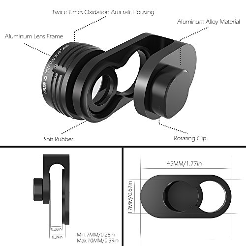 FEGEGO Phone Camera Lens Kit, 0.65X Wide Angle Lens+ 230° Fisheye Lens + 15X Macro...