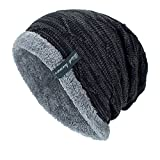 YWLINK Unisex StrickmüTze Absicherung Kopf Cap MüTze Warmer Mode Hut Mit Warmem Innenfutter Pfahlkappe(Freie Größe,Schwarz)