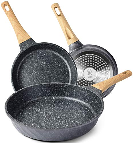 YIIFEEO Nonstick Frying Pan Set, Granite Skillet Set with 100% PFOA Free, Omelette Pan Cookware Set with Heat-Resistant Ergonomic Handle, Induction Compatible(8inch&9.5inch&11inch)