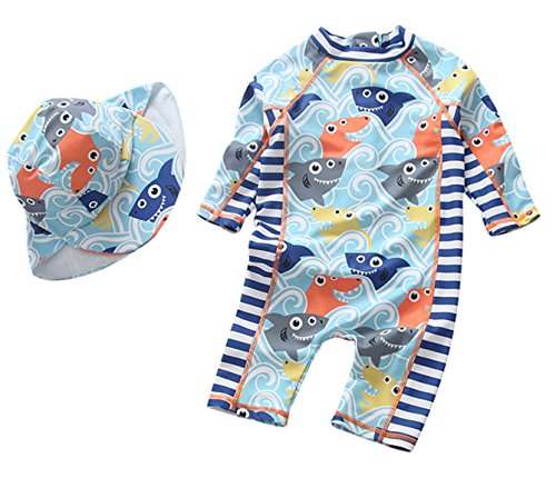 Sun Protective Baby Boys Swimsuit Toddlers One Piece Swimwear with Hat Shark Rash Guard UPF 50+ Blue 9-12M