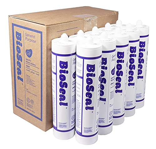 BioSeal Clear Silicone Sealant Caulk Odor Free and Waterproof General Purpose 10.1oz Clear (Pack of 10)