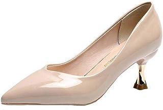 Vrouwen dunne hak pompen lente herfst slip op ondiepe hoge hakken dames glad leer puntschoen jurk schoenen