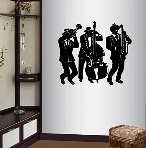 Wall Vinyl Decal Home Decor Art Sticker Jazz Band Musicians Music Musical Instruments Bedroom Living Room Removable Stylish Mural Unique Design 104