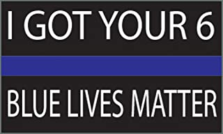 """Thin Blue Line - Blue Lives Matter Flag Sticker 5x3"""" - Industrial Strength Vinyl Decal For Cars, Trucks, RV SUV's & Boats - Support Of Police And Law Enforcement Officers (I Got Your 6)"""