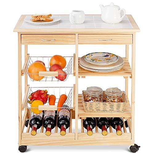 COSTWAY Küchenwagen Kiefernholz, Servierwagen auf Rollen, Rollwagen Küche, Küchentrolley mit Schubladen, Beistellwagen (Natur)