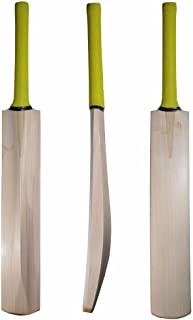 Cricket World Plain Premium Top Grade Custom Made Thick Edge Light Weight T20 Format Without Sticker Short Handle International Quality Tennis Kashmir Willow Cricket Bat with Full Size Bat Cover