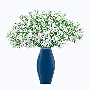 Silk Flower Arrangements BOMAROLAN Artificial Baby Breath Flowers Fake Gypsophila Bouquets 21 Pcs Fake Real Touch Flowers for Wedding Decor DIY Home Party(White)