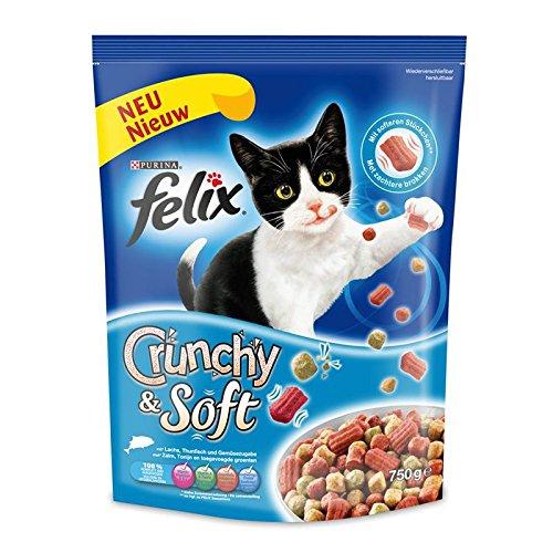 Nestle Felix Crunchy & Soft Lachs, Thunfisch & Gemüse 750g
