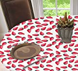 Strawberry Waterproof Non-Slip Oval Elastic Table Cover Cloth,Continuous Cartoonish Ripe Summer Season Fruits,for Kitchen Dining Wedding Party