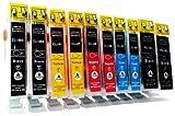 10 Cartouches d'encre compatibles avec CANON PGI-5 / CLI-8 avec Chip | 2x noir (PGI-5BK) & 2x noir (CLI-8BK) / cyan (CLI-8C) /...