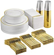 AIDEA 350 Pieces Disposable Dinnerware Set 50 Guests -100 Gold Rim Plastic Plates -150 Gold Plastic Silverware-50 Gold Plastic cups-50 Linen Like Gold Paper Napkins,for Wedding Party.